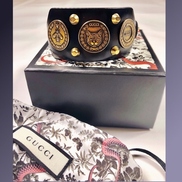 Gucci Accessories - 💯% Authentic Gucci Black Coins Leather Bracelet